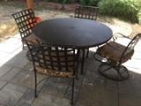 O.W. Lee hammered copper patio table with matching chairs - excellent condition