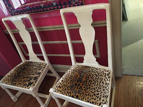 Set of 8 Leopard Skin Fabric Wooden Chairs