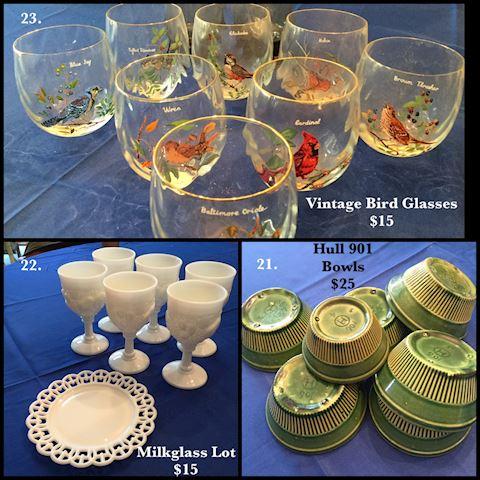 Vintage Bird Glasses Milk Glass Hull Green Bowls