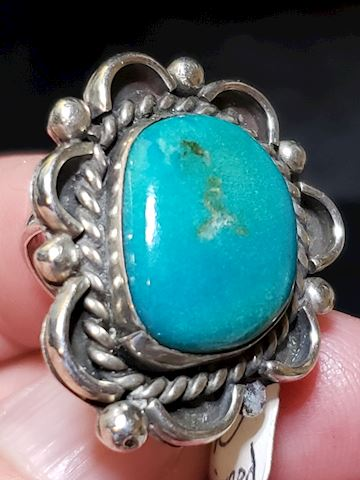 Silver Signed Turquoise Ring Size 6