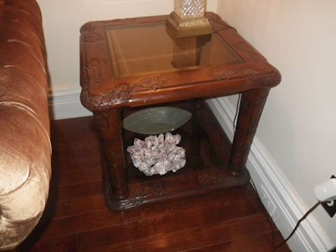 Wooden End Table with Carved Accents