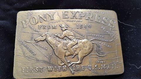 Pony express belt buckle.