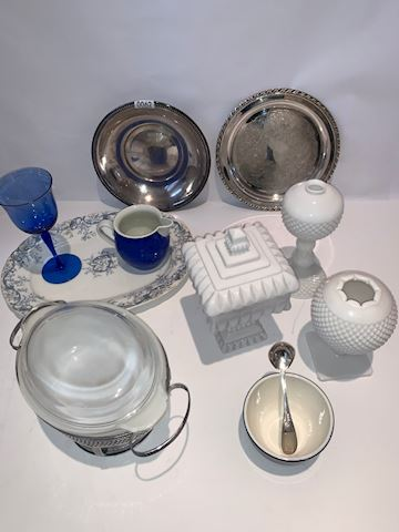 Lot 0062  Rogers silver blue and white porcelain