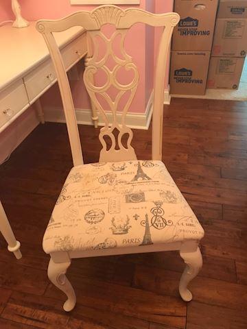 French style cream chair Paris print seat cushion