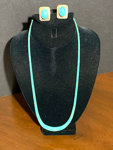 JW  111  Turquoise Necklace & Earrings