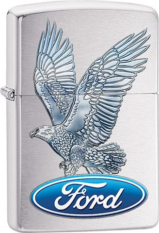 Zippo Lighter With Eagle And Ford Emblem