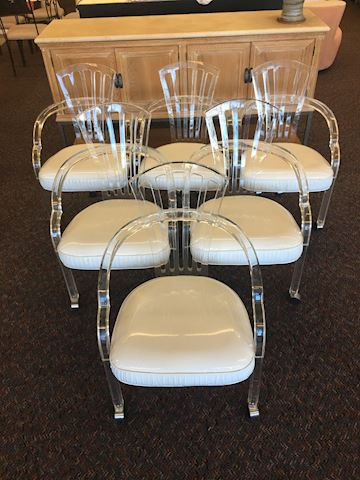 Set of 6 MCM Hill Manufacturing Lucite Chairs