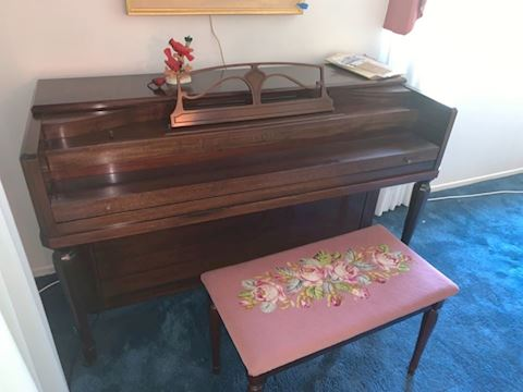 Vintage Cable upright  piano, stool &sheet music