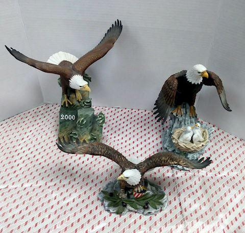 Set of (3) Porcelain Eagles