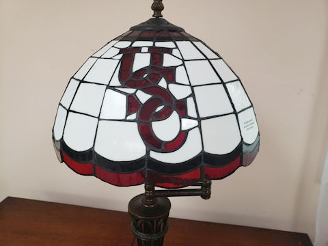 "VINTAGE USC TIFFANY STYLE TABLE LAMP 21"" TALL 12""D"