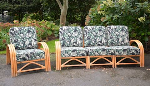 1940'S VINTAGE RATTAN SEATING AREA WITH CUSHIONS