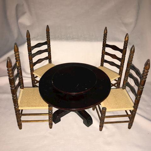 Handmade folk art toy table & chairs