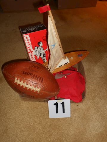 Lot #11 Duke leather football etc.