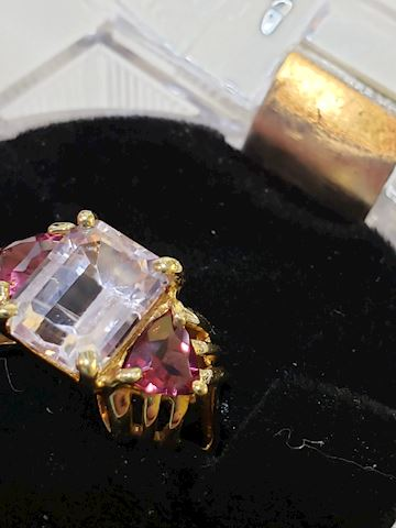 Lilac Amethyst and Tourmaline, 14k ring