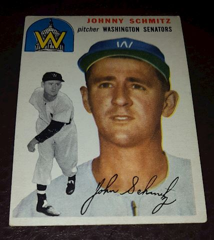 1954 Johnny Schmitz  Senators Baseball Card #33