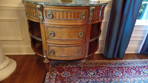 Pair 20th C. Marble Top Italian Commodes