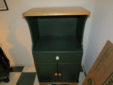 Green Painted Wood Rolling Kitchen Stand