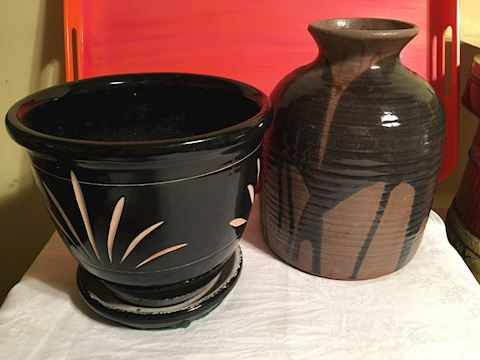 Lot of 2 Art Pottery Vases