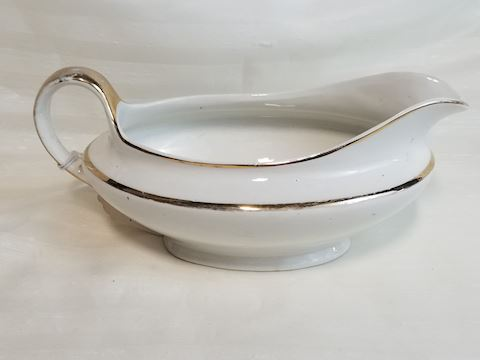 White and gold china gravy boat no plate