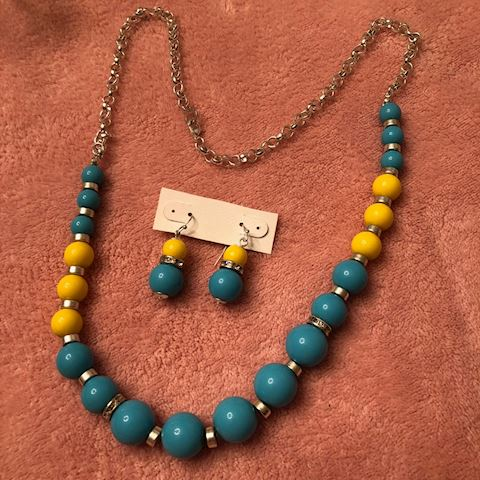 blue and yellow necklace and earring set