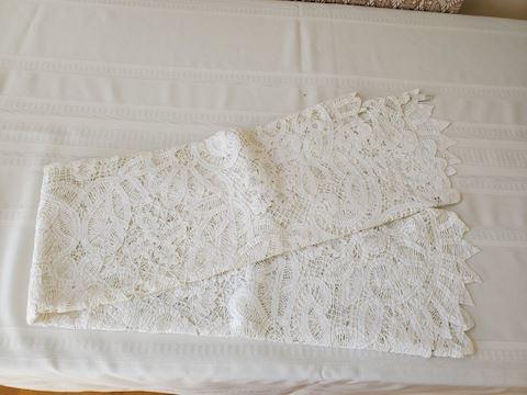 White vintage lace tablecloth