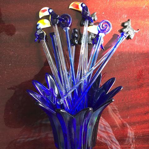 Blue glass Swizzle Stick Lot
