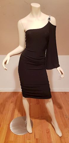 Vtg Cache'one shoulder ruched bodycon sheath dress