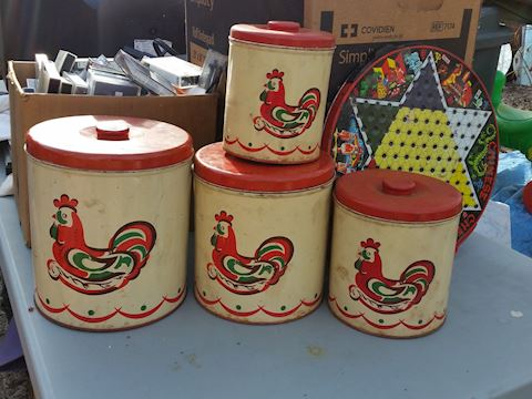 4pc vintage rooster tin kitchen canister set
