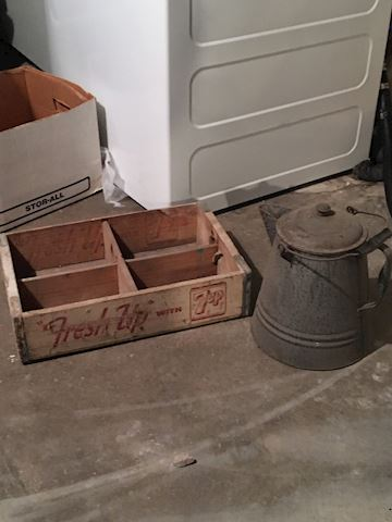 7 UP Crate and Coffee Pot