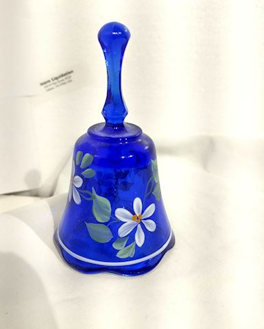Blue Glass Bell w/ Flowers Hand Painted