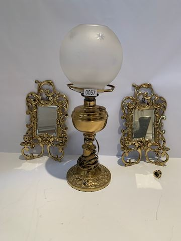 Lot 0057 Brass lamp & Gilt Cast Iron Frame mirrors