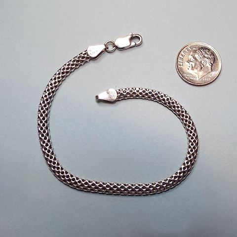 Sterling Silver Woven Chain Bracelet, 7+ inches