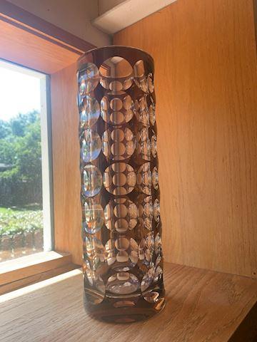 Mid Century Modernist Vase Cut Crystal