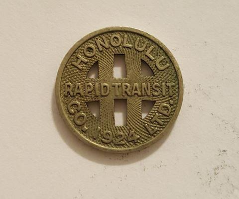 Old 1924 Honolulu Hawaii Rapid Transit Token