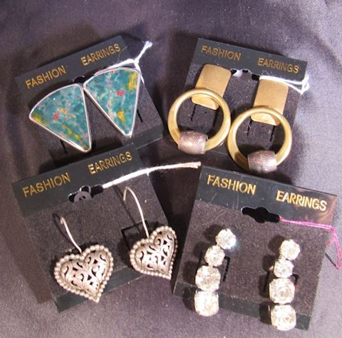 Lot of 4 Sterling Silver Costume Jewelry Earrings