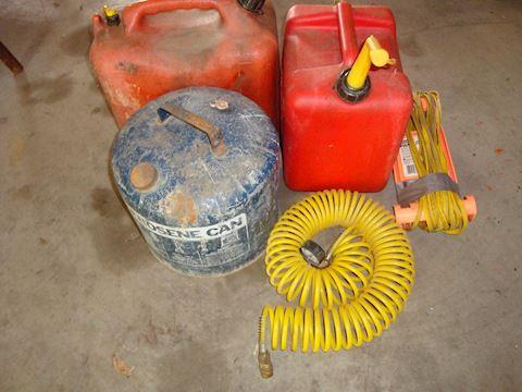 Kerosene & plastic gas cans, coil airhose Lot # 61