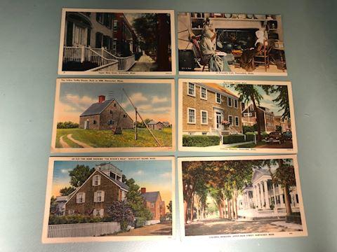 6 Vintage Nantucket Postcards