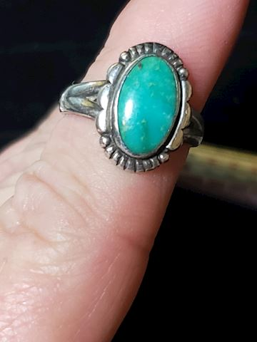 Turquoise set in Silver, ring size 5 3/4