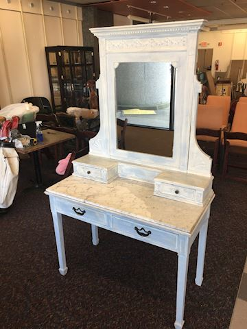 "Shabby Chic Marble Top Vanity 45"" wide x 22"" deep"