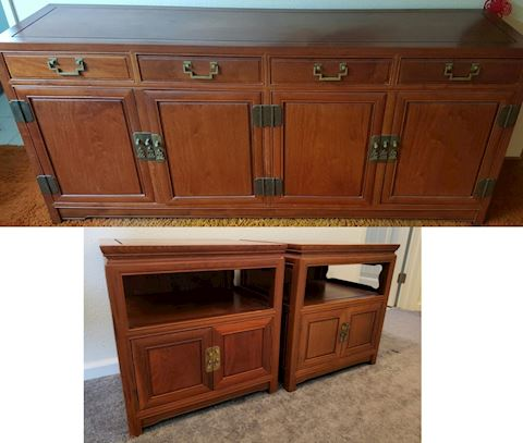 Solid Rosewood Buffet and end tables