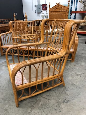 Vintage rattan bamboo fretwork wing chair