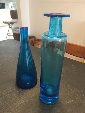 2 Mid Century Modern Blue Glass Bottles