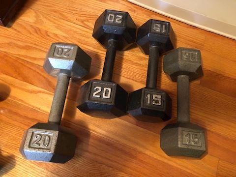 Set of 4 Hex Dumbbells 2 20lb, 2 15lb