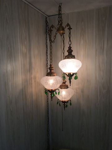 Vintage Brass Tri Hanging Lamp
