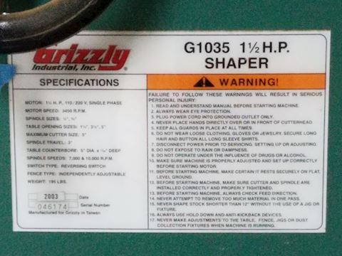 Grizzly G1035 - 1-1/2 HP Shaper & Power Feeder