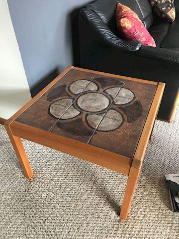 Teak Ceramic Side Table