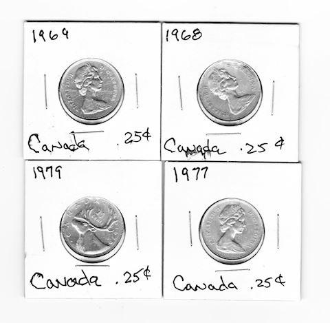 4 Vintage Canadian Qtrs, 1968, 1969. 1977, 1979