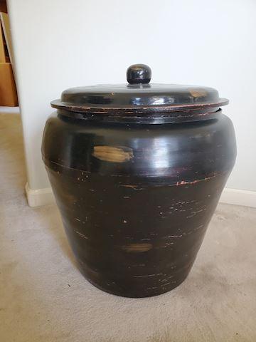 Large black wood urn