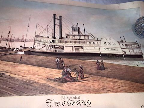 Lot 0103  N. W Thomas Steamboat 1853 Lithograph