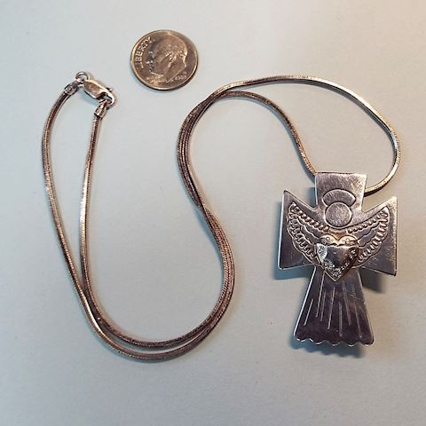 Sterling Angel w Heart Designer Pendant or Brooch
